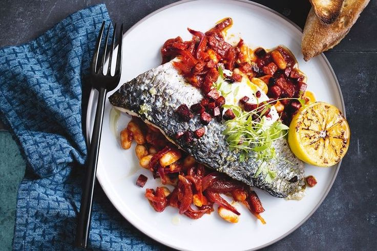 Roasted mullet with cannellini beans