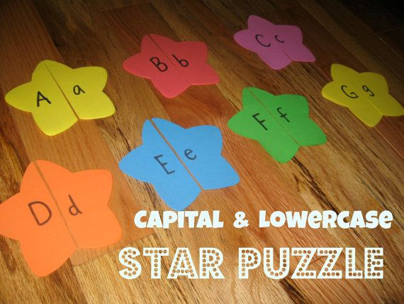 Matching capital and lowercase letters on foam stars - keeps my two year old entertained!  Colors give pre-readers a hint to which ones match.
