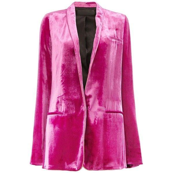 Haider Ackermann Velvet Blazer (27,130 GTQ) ❤ liked on Polyvore featuring outerwear, jackets, blazers, pink jacket, velvet jacket, blazer jacket, pink blazer jacket and pink blazers