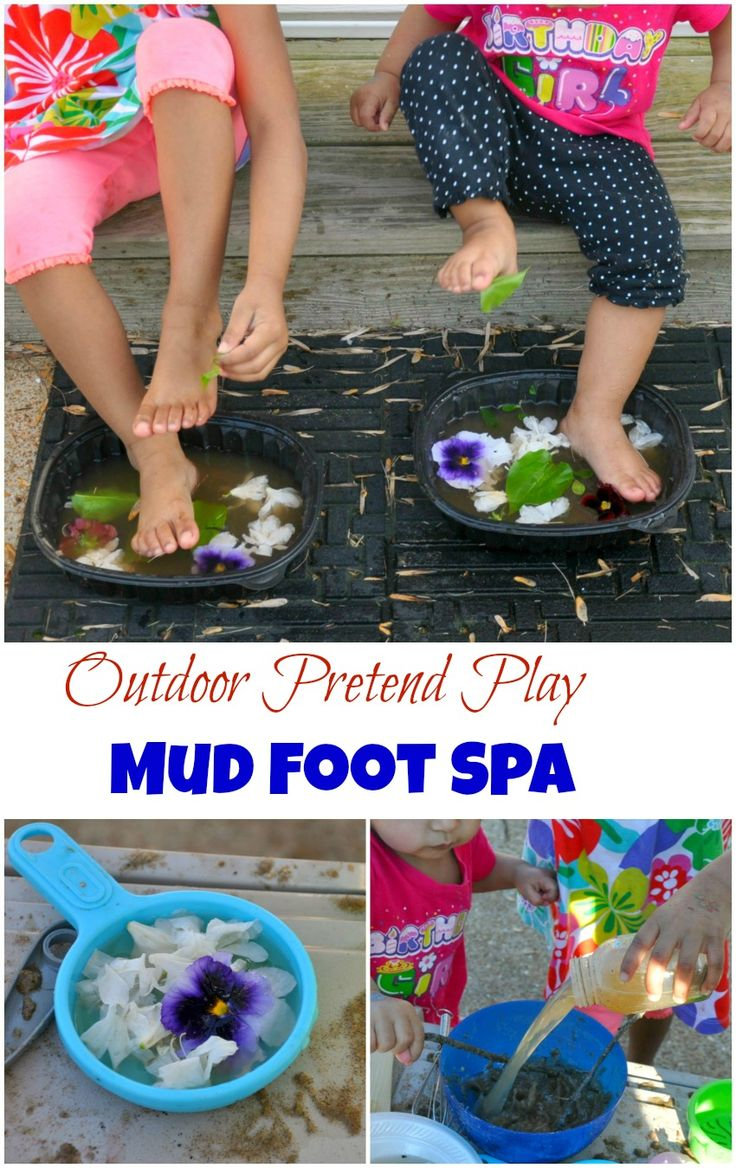 Outdoor pretend play and nature activities. Play with dirt, mud, sand , leaves and sticks. The best one - create a mud foot spa for the little ones. You know they are going to get *into* dirt anyway. #outdoorplay #summer from www.blogmemom.com