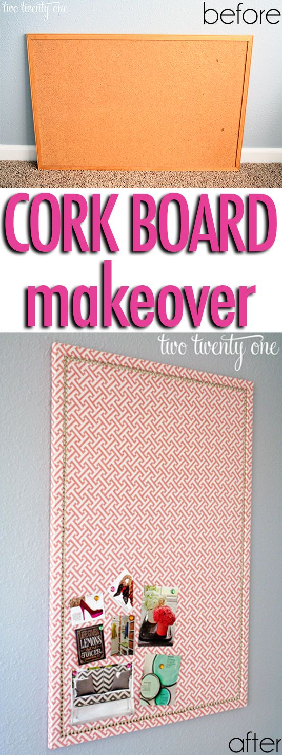 Make It: Fabric Covered Memo Board (Cork Board Makeover!) - Tutorial #DIY #home