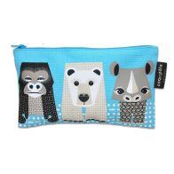 Pencil case    Blue   Gorilla, Rhino, Polar bear  www.littlefrenchy.com.au #backtoschool #coqenpate #organic #pencilcase #Saveourspecies