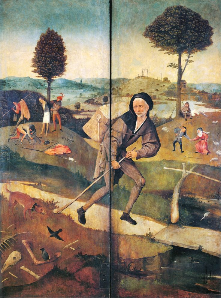 Outer wings of The Haywain Triptych showing a wayfarer following his road in spite of the temptation and the evil acts occurring around him by Hieronymus Bosch