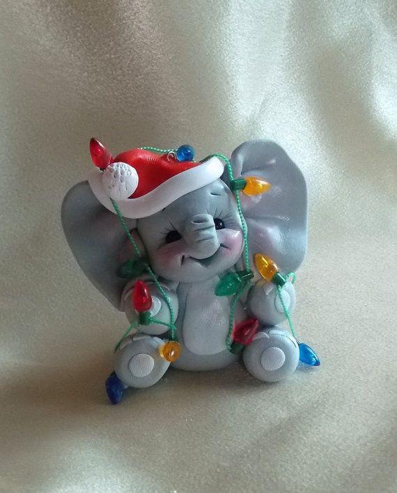 elephant personalized Christmas ornament cake topper keepsake polymer clay lights seasonal