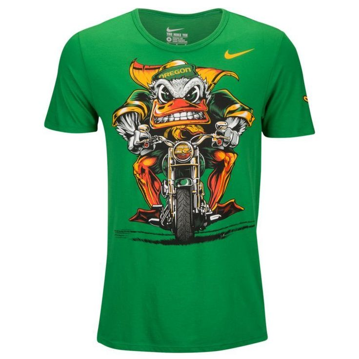 Nike College Tri-Blend Oregon Ducks Motorcycle Mascot In Your Face T-Shirt  XXL