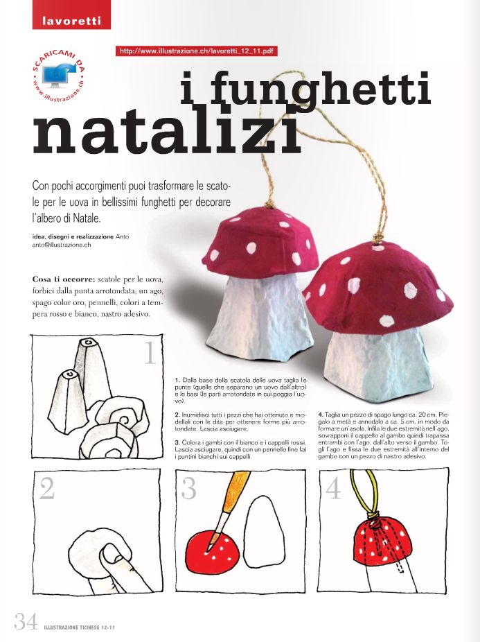 Ecco il lavoretto natalizio che ho proposto per l'edizione natalizia di Illustrazione Ticinese . Occorrono solo delle scatole per le uova ...