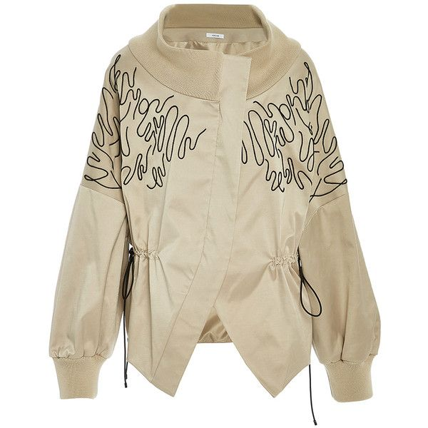 Adeam     Embroidered Drop Shoulder Bomber Jacket (17.759.255 IDR) ❤ liked on Polyvore featuring outerwear, jackets, tan, brown jacket, brown bomber jacket, embroidery jackets, embroidered bomber jackets and flight jacket