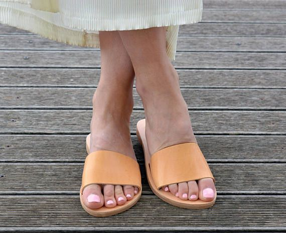 Greek Leather Slides Sandals | Open Toe Flat Sandals | Minimal Sandals | Slide Sandals ''Emily''