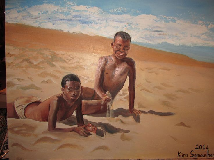 Boys on Diaz Beach. Oil on canvas.... Küra, Nov 2014 (donated to OHS)