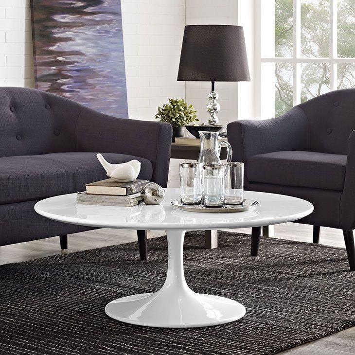 "Tulip 40"" White Coffee Table https://emfurn.com/"