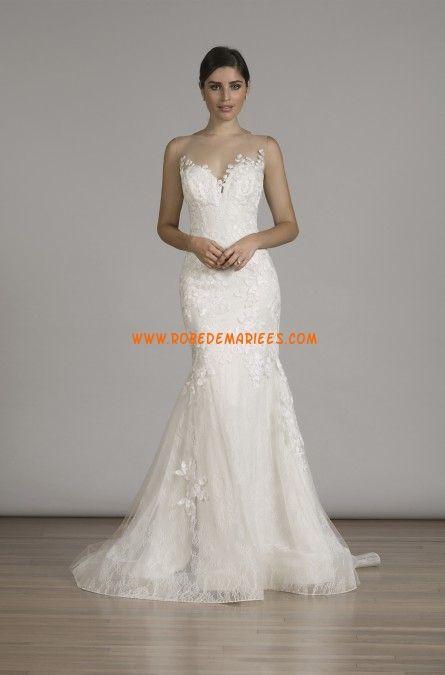 Robe de mariée sans manches dos nu application sirène collant