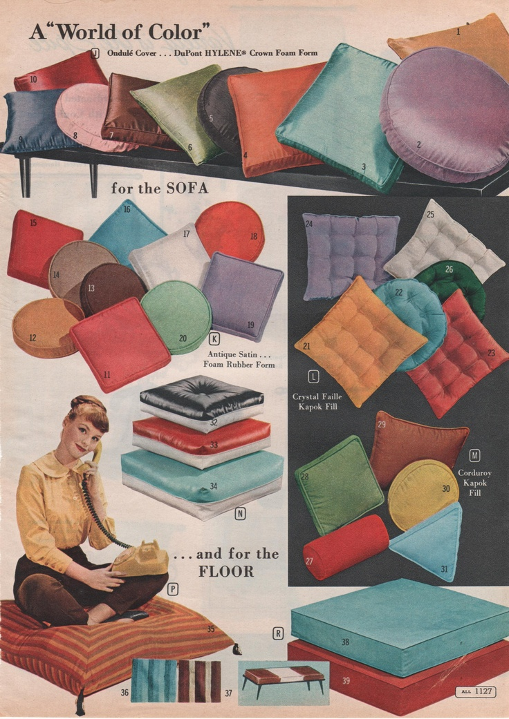 Vintage Pillow Porn-Montgomery Ward 1961. Repinned by Secret Design Studio, Melbourne. www.secretdesignstudio.com