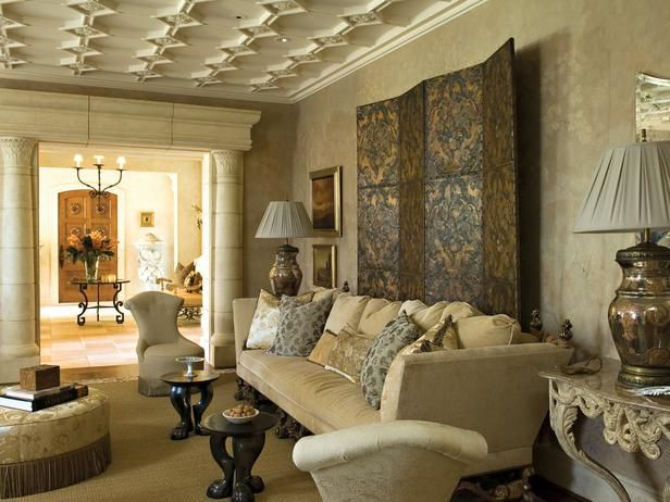 Mediterranean Living Rooms From Barry Dixon On HGTV Notice The Ceiling Work And Columns