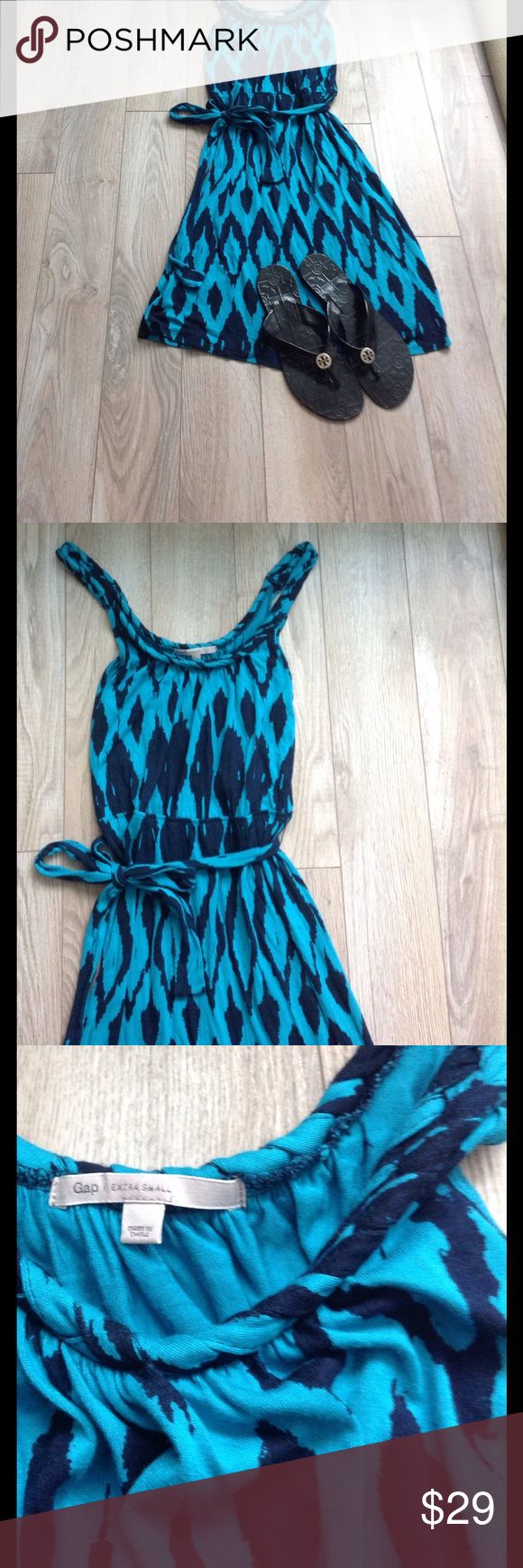 "Gap blue beach dress XS dress by Gap.  Has braided straps and a tie at waist. Measures: 16"" pit to pit unstretched, 36 long. Color is a blue green. GAP Dresses Mini"