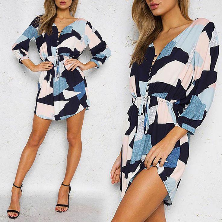 Irregular Geometric Pattern V Neck Women Bandage Long Sleeve Mini Dress Optimal