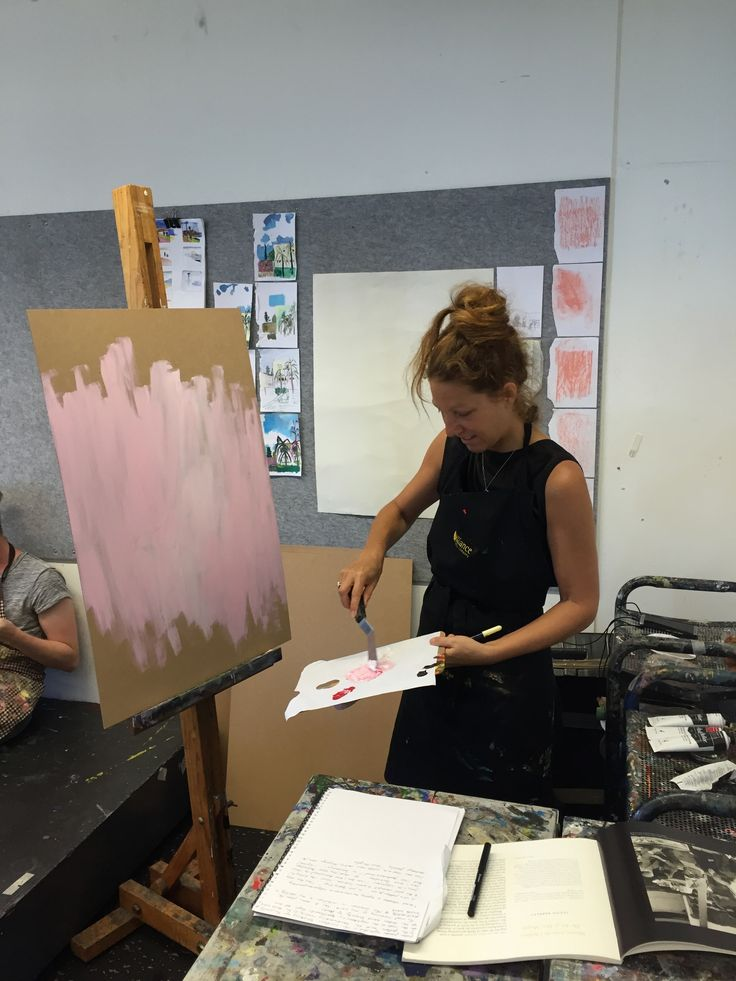 In the studio priming the boards, rubbings of surfaces, and colour studies on the wall.