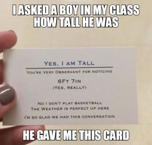The poor guy probably got tired of getting asked the same questions. Genius, though the card idea.