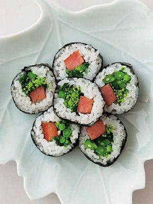 【ELLE a table】ランチョンミートと菜の花ののり巻き・韓国風レシピ|エル・オンライン