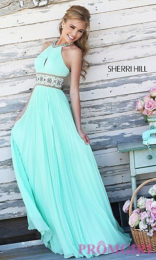 Sherri Hill Halter Top Pleated Prom Dress