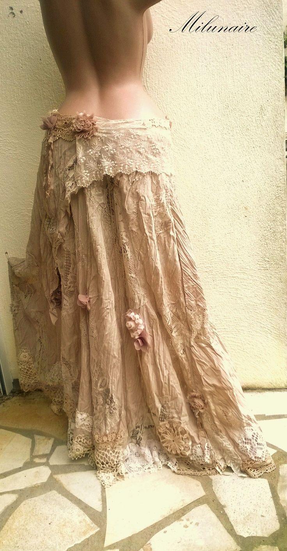 Jupe dentelles sur-jupe bohémien chic - mariage bohème taupe écru beige