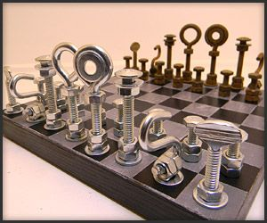 WANT: Badass chess set made from household hardware...