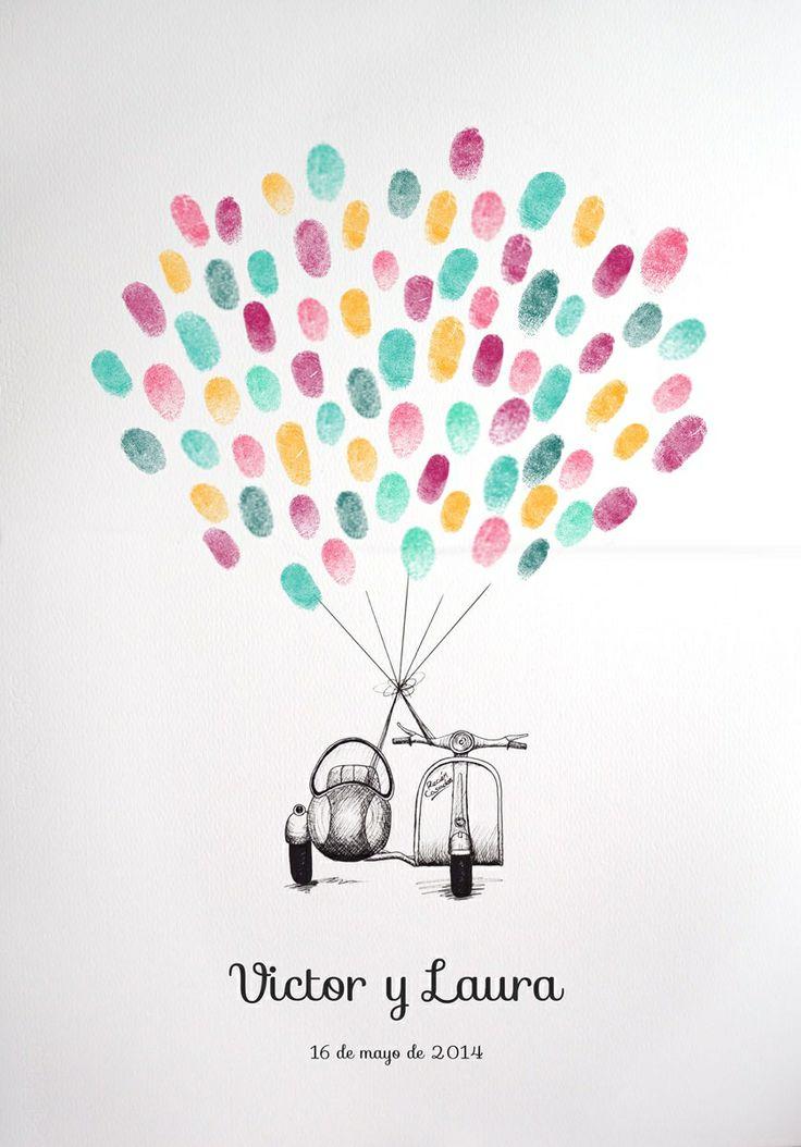 Vespa con sidecar para huellas en libro de firmas de boda.  http://losdetallesdetuboda.com/complementos-de-boda/libros-de-firmas/moto-vespa-con-sidecar-como-libro-de-firmas-con-huellas-1138