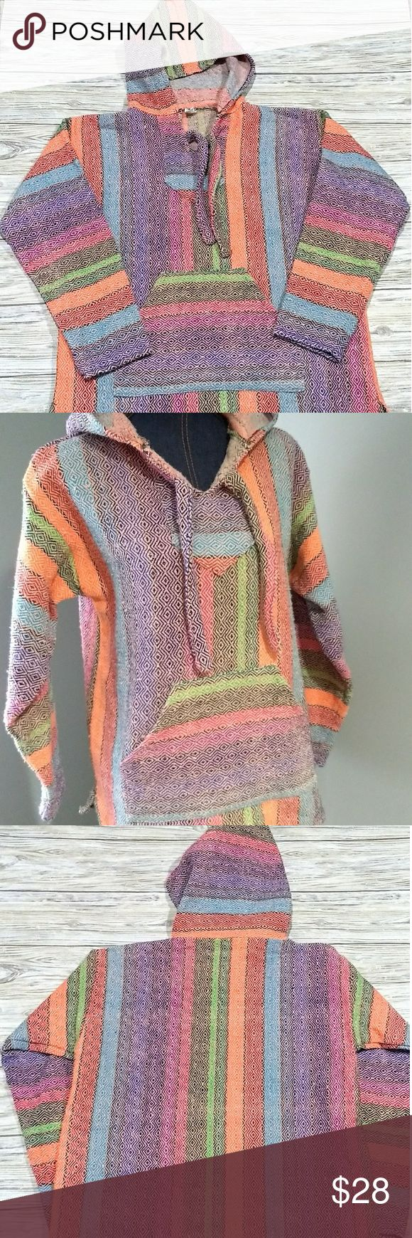 Baja Jacket/Drug Rug/ Mexican Thread Molina Mexican Baja Jacket/Drug Rug/Thread Jacket/Hoodie  Awesome colors!! Shades of Red, blue, green,purple, pink, orange and black  Pease note measurements  Underarm to Underarm: 22 inches Length: 26 inches  Used, pilling and normal wear Molina Tops Sweatshirts & Hoodies