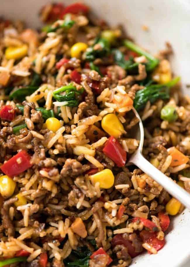 Beef And Rice With Veggies Recipe Beef Dinner Healthy Ground Beef Recipes