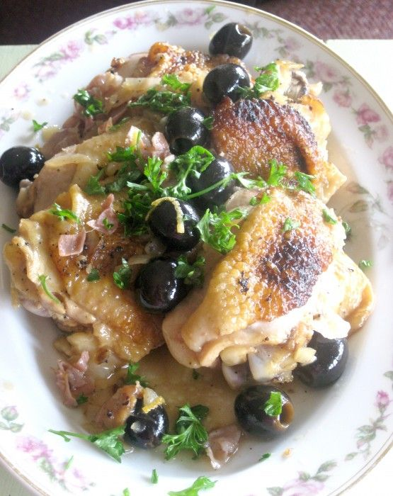 "Vermouth-Braised Chicken with Olives and Prosciutto."" --- Might want ..."