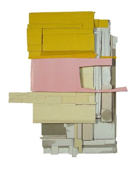 Ryan Sarah Murphy: abstract, sculptural collages using found and collected cardboard and book covers.