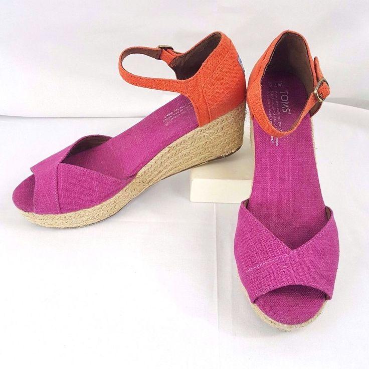 Toms Wedge Sandals Shoes Women Size w7.5 Pink Orange Open Toe Buckle Strap Vegan #Toms #OpenToe