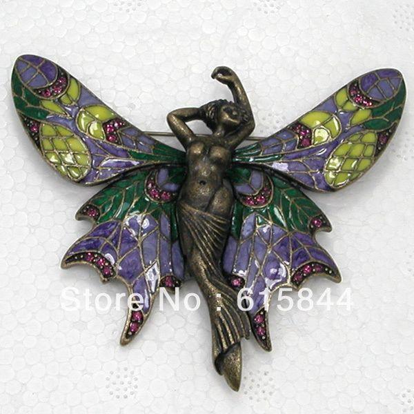 Ювелирные изделия аметист кристалл горный хрусталь эмаль бронзовый прекрасная фея огромный бабочка брошь корсаж броши pin 877 D купить на AliExpress