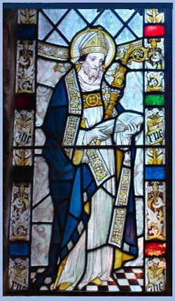 St. Swithin: feast day July 15th; 9th c Bishop of Winchester. All holy relics of this saint were destroyed by King Henry VIII in the 16th c.