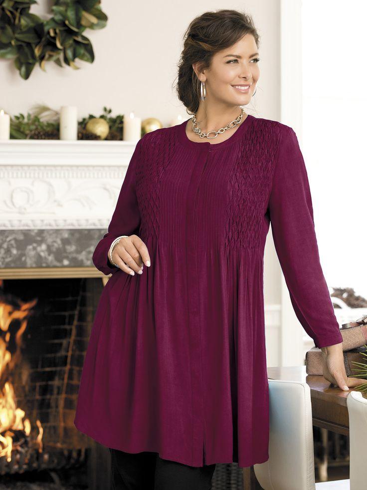 Women's #PlusSize Arcadia Smocked Rayon Challis Tunic