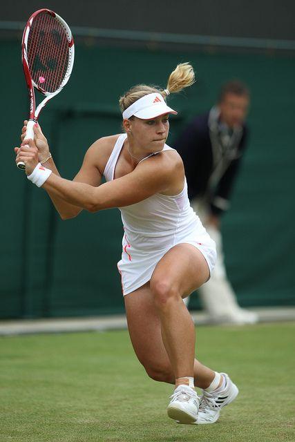 Angelique Kerber swinging her VCORE 100S racquet at 2012 Wimbledon