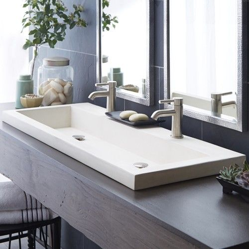 the trough 4819 drop in sink is a sensible solution for eco conscious bathrooms - Overmount Bathroom Sink