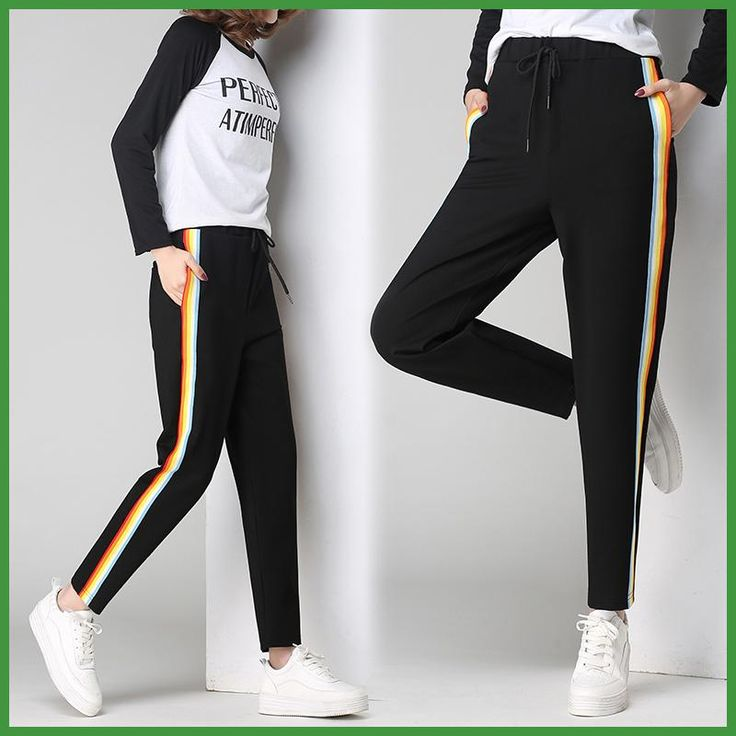 2017 New Spring Women Casual Trousers Fashion Side Striped Loose Harem Pants Lady Girls Large Size Pants Black Trouser