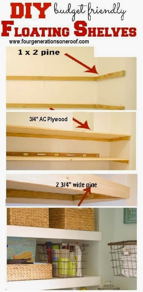 "Best DIY Projects: DIY cubby area ""floating"" shelves"