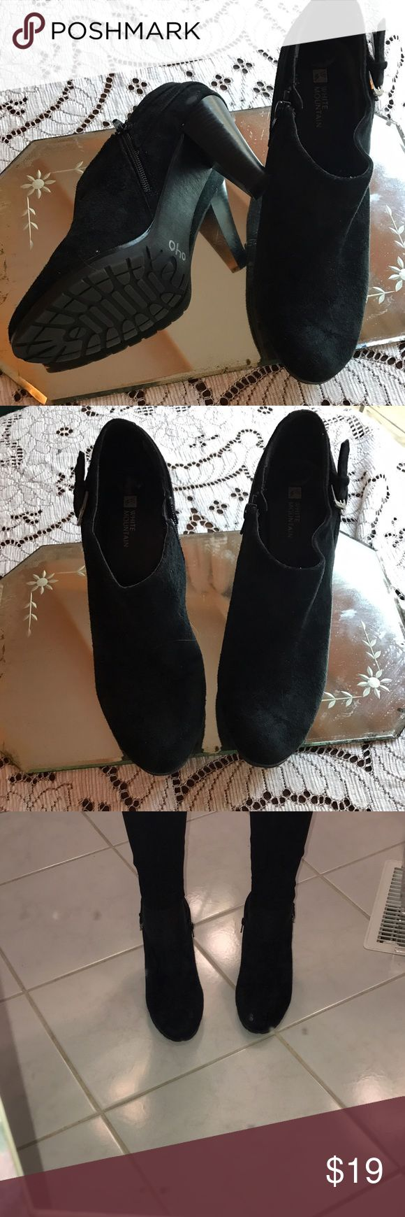 Suede look shoe tees Suede look black shoe tees. Side zipper. Comfortable white mountain shoes white mountain Shoes