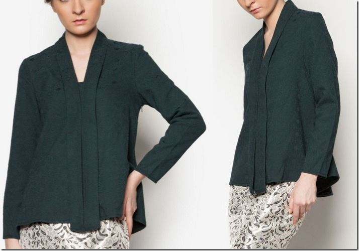 Baju Raya 2016 ~ Kebaya, Peplum, Kimono Style Blouse Ideas / green-kebaya-top
