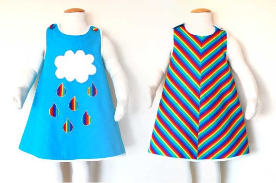 RAINBOW girls reversible jumper dress in cotton, with hand embroidered cloud and raindrops applique