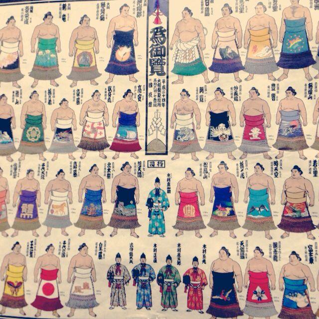 """Sumo wrestler's """"KESHO MAWASHI"""" poster."""