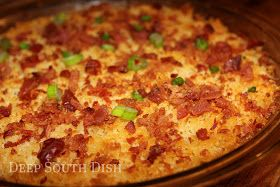 Charleston Cheese Dip, made with cream cheese, cheddar and swiss cheeses, bacon, jalapeno, green onion, and topped with panko and bacon.