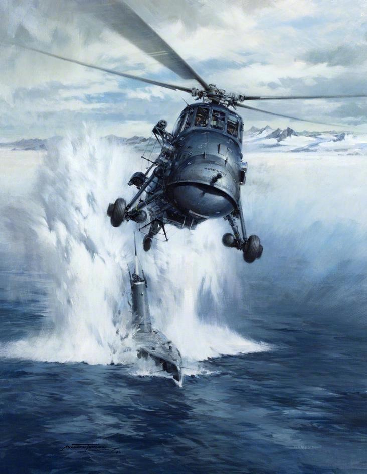 """Westland Wessex """"Humphrey"""" - GB - y submarino ARA Santa Fe en las Islas Malvinas - Michael Turner"""