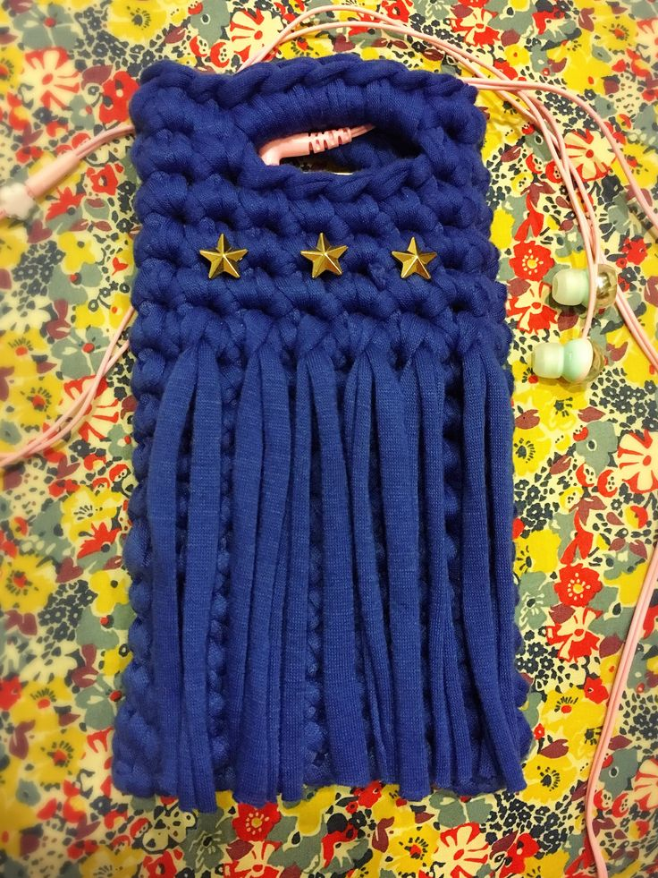 T shirt yarn mobile pouch