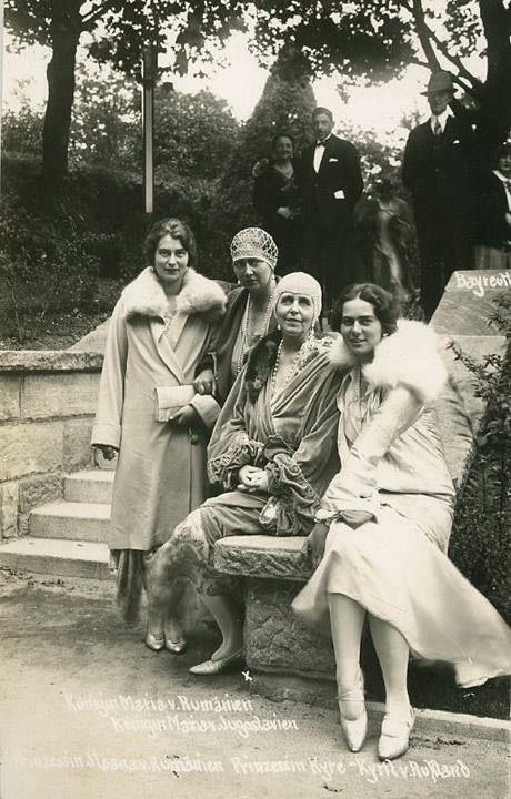 At Bayreuth: GD Kira Kirillovna ( Princess of Prussia), Princess Marie of Romania, Queen Marie of Romania and Princess Ileana of Romania
