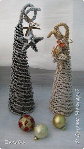 Поделка изделие Новый год Плетение Новогоднее настроение Трубочки бумажные фото 3