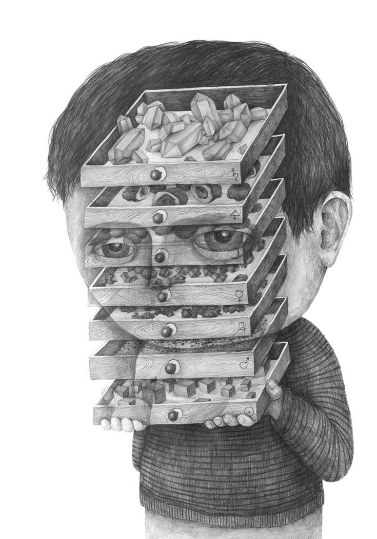 Graphite Portraits of People Inconvenienced by Objects and Thoughts by Stefan Zsaitsits