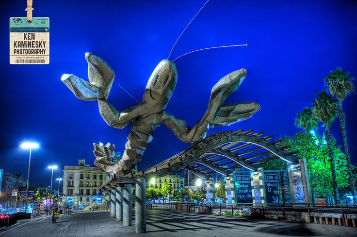 Lobster statue by Xavier Mariscal at Port vell, Barcelona. Catalonia, Spain