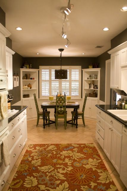 Small eat in kitchen i love the corner shelves small for Galley kitchen with breakfast nook